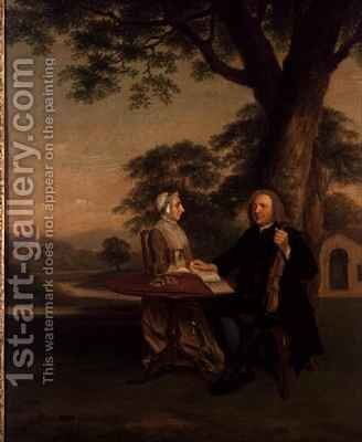 Gentleman with Violin and his Wife possibly Thomas Strakie Mayor of Preston by Arthur Devis - Reproduction Oil Painting