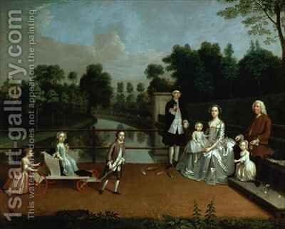 A Family Group on a Terrace in a Garden by Arthur Devis - Reproduction Oil Painting