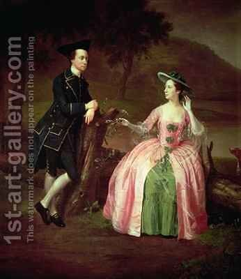 Sir George and Lady Strickland by Arthur Devis - Reproduction Oil Painting