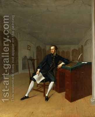 Sir Roger Newdigate 1719-1806 in the Library at Arbury by Arthur Devis - Reproduction Oil Painting