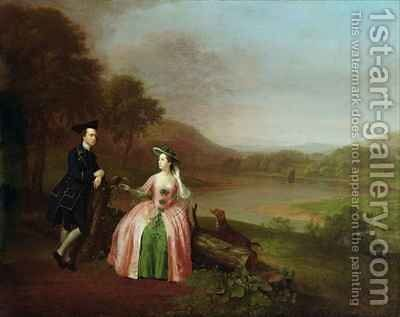 Sir George and Lady Strickland in the Grounds of Boynton Hall near Bridlington Yorkshire by Arthur Devis - Reproduction Oil Painting