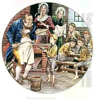 The artists second interpretation of Oliver Twist asking for more by H. Devine - Reproduction Oil Painting