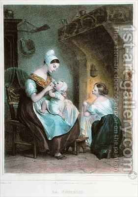The Wetnurse by Achille-Jacques-Jean-Marie Deveria - Reproduction Oil Painting