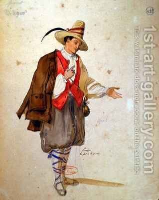 Costume design for the role of Pierrot in an 1847 production of Don Juan by Achille-Jacques-Jean-Marie Deveria - Reproduction Oil Painting
