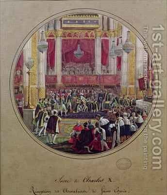 King Charles X 1757-1836 receiving the Knights of the Saint Esprit at Reims Cathedral on the 30th May by Jean-Charles Develly - Reproduction Oil Painting