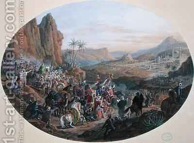 Design for a set of plates depicting The Pilgrimage to Mecca by Jean-Charles Develly - Reproduction Oil Painting