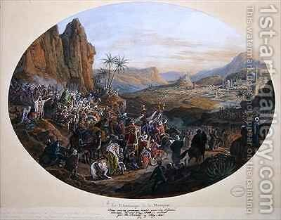 Design for a set of plates depicting The Pilgrimage to Mecca 2 by Jean-Charles Develly - Reproduction Oil Painting