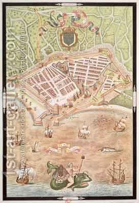 Fascimile of a Plan of Le Havre in 1583 by Jacques Devaulx - Reproduction Oil Painting