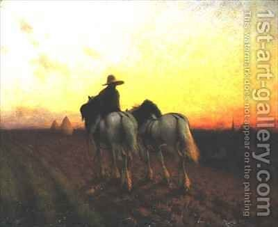 Returning at sunset by Henry Edward Detmold - Reproduction Oil Painting