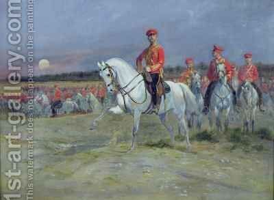 Tsarevich Nicolas 1894-1917 Reviewing the Troops by Jean Baptiste Edouard Detaille - Reproduction Oil Painting