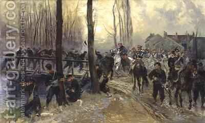 Ambush near a Bridge Defended by Troops Early Morning by Jean Baptiste Edouard Detaille - Reproduction Oil Painting