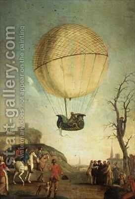 Robert re ascending at Nesle after the first flight in a hydrogen balloon by Claude Louis Desrais - Reproduction Oil Painting
