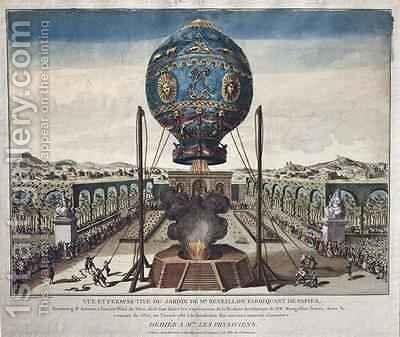 View of the Montgolfier Brothers Balloon Experiment in the Garden of M Reveillon on the 19th of October by (after) Desrais, Claude Louis - Reproduction Oil Painting