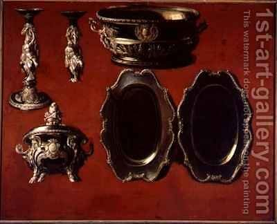 Painting of tureen dishes and candlestick by Claude Francois Desportes - Reproduction Oil Painting