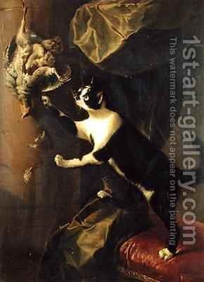 Cat and Dead Game by Alexandre-Francois Desportes - Reproduction Oil Painting