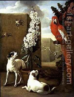 Parrot with Dogs by Alexandre-Francois Desportes - Reproduction Oil Painting