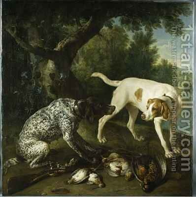 Two pointers belonging to the 3rd Earl of Burlington with dead game in a landscape by Alexandre-Francois Desportes - Reproduction Oil Painting
