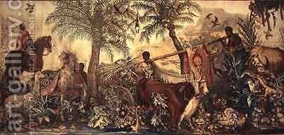 The Two Bulls from the Tapestry of the New Indies by Alexandre-Francois Desportes - Reproduction Oil Painting