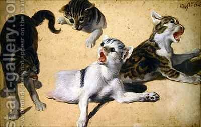 Four Studies of Kittens by Alexandre-Francois Desportes - Reproduction Oil Painting