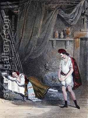 Scene depicting the mute girl Fenella asleep in a hut with her brother Masaniello by Emile Deshays - Reproduction Oil Painting