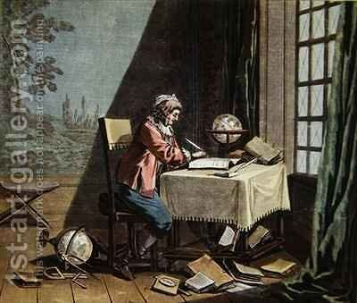 Rene Descartes 1596-1650 writing his world system by (after) Desfontaines - Reproduction Oil Painting