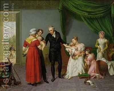Baron Jean Louis Alibert 1768-1837 performing the vaccination against smallpox in the Chateau of Liancourt by Constant Joseph Desbordes - Reproduction Oil Painting