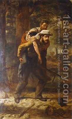 Ross Lewis Mangles 1833-1905 saving a wounded soldier of the 37th Regiment during the Indian Mutiny of 1857 by Chevalier Louis-William Desanges - Reproduction Oil Painting