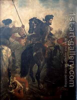Captain Dighton MacNaghten Probyn 1833-1924 at the Battle of Agra on 10th of October 1857 by Chevalier Louis-William Desanges - Reproduction Oil Painting