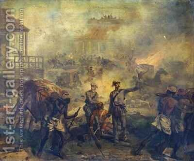 Surgeon Anthony Dickson Home VC 1826-1914 and Assistant Surgeon William Bradshaw VC 1830-61 at Lucknow during the Indian Mutiny in 1857 by Chevalier Louis-William Desanges - Reproduction Oil Painting
