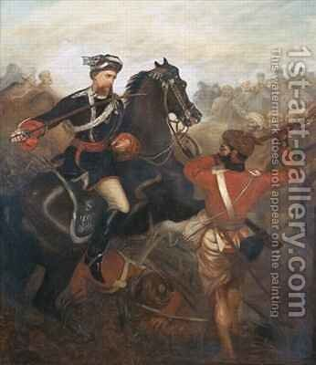 Lieutenant Frederick Robertson Aikman 1828-88 earning the Victoria Cross at Lucknow during the Indian Mutiny on 1st March 1858 by Chevalier Louis-William Desanges - Reproduction Oil Painting