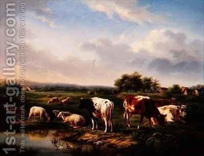 Cattle and Sheep in a Landscape by Charles Desan - Reproduction Oil Painting