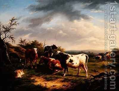 Cattle and Sheep in a Landscape 2 by Charles Desan - Reproduction Oil Painting