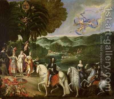 Allegory of the Marriage of Louis XIV 1638-1715 in 1631 by Claude Deruet - Reproduction Oil Painting