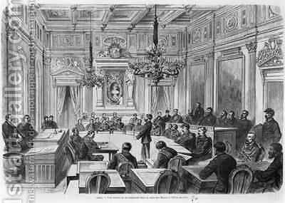 Members of the Commune in session at the Hotel de Ville Salle des Maires Paris by (after) Deroy, Auguste Victor - Reproduction Oil Painting