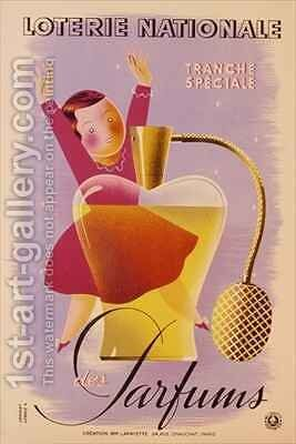 Poster advertising the French National Lottery by Derouet Lesacq - Reproduction Oil Painting