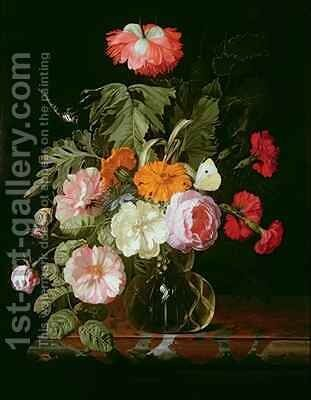Roses peonies and love in a mist in a glass vase with a white butterfly by Isaak Denies - Reproduction Oil Painting