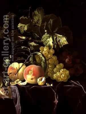 Still Life of fruit nuts and leaves on velvet cloth by Isaak Denies - Reproduction Oil Painting