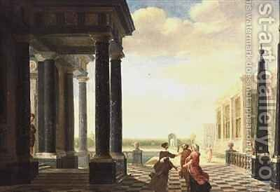 Figures in Conversation in a Classical Setting by Dirck Van Delen - Reproduction Oil Painting
