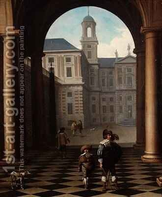 Elegant figures in a loggia at the entrance of a palace by Dirck Van Delen - Reproduction Oil Painting