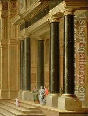 Elegant Company on the Steps of a Classical Building by Dirck Van Delen - Reproduction Oil Painting