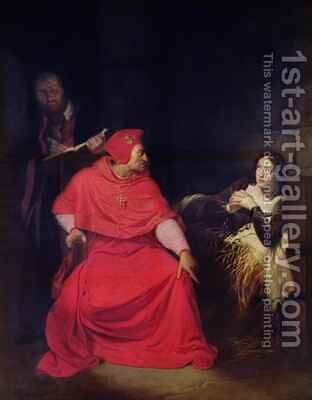 Joan of Arc 1412-31 and the Cardinal of Winchester in 1431 by Hippolyte (Paul) Delaroche - Reproduction Oil Painting