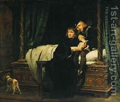 Edward V 1470-83 and Richard Duke of York in the Tower Les Enfants dEdouard by Hippolyte (Paul) Delaroche - Reproduction Oil Painting