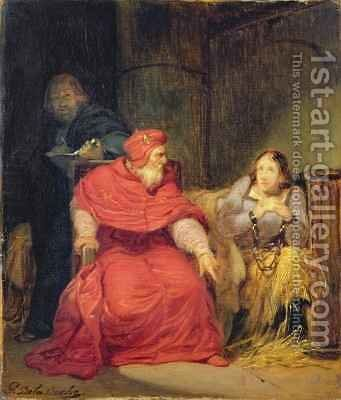 Joan of Arc in Prison 2 by Hippolyte (Paul) Delaroche - Reproduction Oil Painting