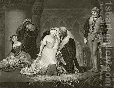 The execution of Lady Jane Grey by (after) Delaroche, Hippolyte (Paul) - Reproduction Oil Painting