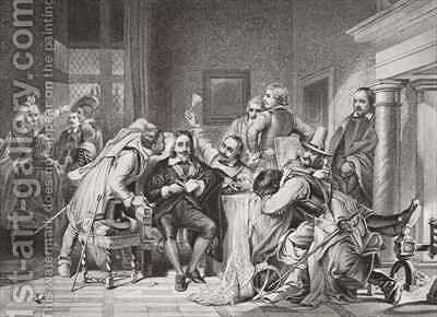 Charles I 1600-49 in the guard room insulted by Oliver Cromwells soldiers by (after) Delaroche, Hippolyte (Paul) - Reproduction Oil Painting