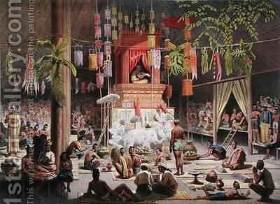 Festival in a pagoda at Ngong Kair Laos by (after) Delaporte, Louis - Reproduction Oil Painting