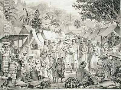 Market at Luang Prabang Laos by (after) Delaporte, Louis - Reproduction Oil Painting