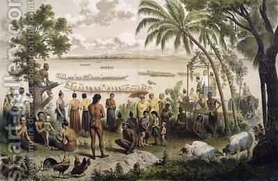 Pirogue races on the Bassac River by (after) Delaporte, Louis - Reproduction Oil Painting