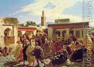 The Moroccan Storyteller by Alfred Dehodencq - Reproduction Oil Painting