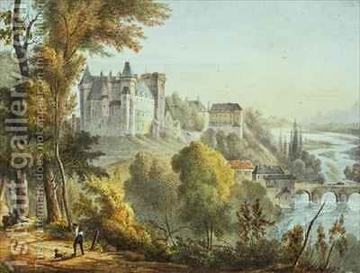 View of the bridge at Jurancon and Chateau Pau by E. Defonds - Reproduction Oil Painting